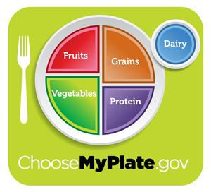 USDA Choose My Plate fruit grains vegetables protein and dairy